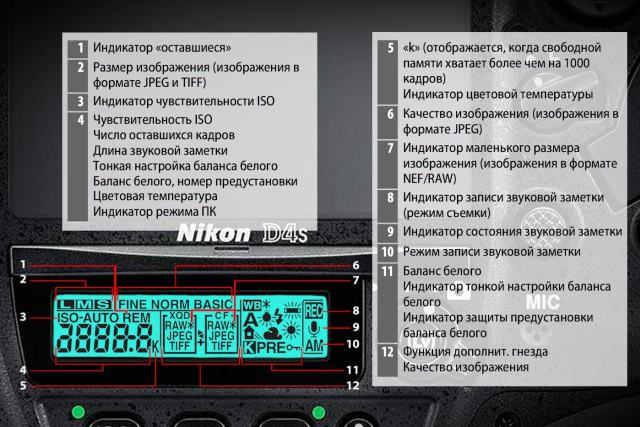 задний дополнительный дисплей Nikon d4s
