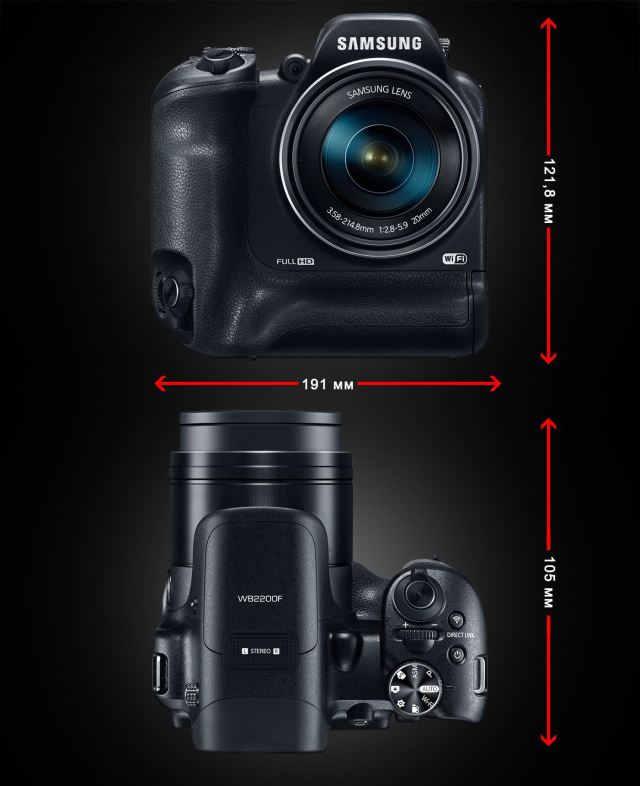 Samsung WB2200F size