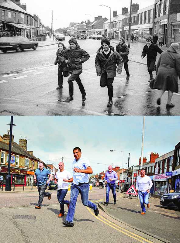 "Picture supplied by Chris Porsz/Bav Media 07976 880732. (Geoff Robinson Photography) Picture shows Five Boys Running – Original Pic 1980 (left-right )Andy Jackson, Richard Hillson, Devinder Singh, Tony James and Aaron Meadows were around 15 years old in the original picture and running to the chip shop and to play arcade games at the A and B record store in their lunch break. About a year later the all-boys school closed down and their year group was moved to a new school. An amateur photographer has amazingly tracked down people he snapped on the streets of his hometown 40 YEARS ago and painstakingly recreated more than 130 PICTURES in a remarkable new book. Paramedic Chris Porsz spent hours walking around the city of Peterborough, Cambridgeshire in the late 1970s and 80s, taking candid shots - without his subjects knowing and without recording their names or phone numbers. Three decades later, Chris, known as the ""paramedic paparazzo,"" decided it would be fun to reconstruct a handful of his favourite photos from the past. Incredibly some of his long-lost subjects recognised themselves after he published their pictures in local and national papers, on his website and on Facebook. The reconstructions were such a success he was determined to do more and has spent the last SEVEN YEARS tracking down the people in his pictures and persuading them to pose once again. His hard work paid off and he has now published his photos in new book ""Reunions,"" which comes out tomorrow (Fri Nov 4). SS COPY CATCHLINE Photos recreated after 40 YEARS"