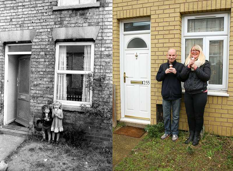 "Picture supplied by Chris Porsz/Bav Media 07976 880732. (Geoff Robinson Photography) Picture titled Ice Creams – Original pic 1981. Donna Yarnell was five years old when she was photographed with her three-year-old brother Steven licking ice creams in their front garden in Peterborough in 1981. Her family moved out of the house two years later so it brought back lots of memories when the pair returned to the street in February 2015. An amateur photographer has amazingly tracked down people he snapped on the streets of his hometown 40 YEARS ago and painstakingly recreated more than 130 PICTURES in a remarkable new book. Paramedic Chris Porsz spent hours walking around the city of Peterborough, Cambridgeshire in the late 1970s and 80s, taking candid shots - without his subjects knowing and without recording their names or phone numbers. Three decades later, Chris, known as the ""paramedic paparazzo,"" decided it would be fun to reconstruct a handful of his favourite photos from the past. Incredibly some of his long-lost subjects recognised themselves after he published their pictures in local and national papers, on his website and on Facebook. The reconstructions were such a success he was determined to do more and has spent the last SEVEN YEARS tracking down the people in his pictures and persuading them to pose once again. His hard work paid off and he has now published his photos in new book ""Reunions,"" which comes out tomorrow (Fri Nov 4). SS COPY CATCHLINE Photos recreated after 40 YEARS"