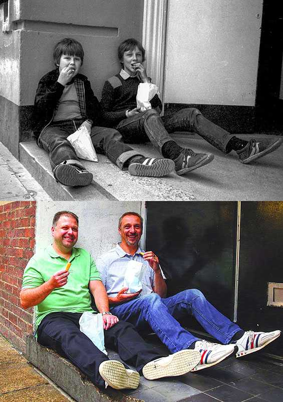 "Picture supplied by Chris Porsz/Bav Media 07976 880732. (Geoff Robinson Photography) Picture titled Eating Chips – Original Pic 1983 School friends Martin Coulson (left) and Andy Randall were eating chips bought from the arcade which has now been replaced with Wilkinsons in Peterborough.. ""I think it must have been a Saturday and we'd been to the chip shop. The chips were a bit like McDonald's fries and were always good,"" said Martin, who was a warehouse manager and is currently re-training. He is married with two children. Andy is a telematics engineer and is married with three children. An amateur photographer has amazingly tracked down people he snapped on the streets of his hometown 40 YEARS ago and painstakingly recreated more than 130 PICTURES in a remarkable new book. Paramedic Chris Porsz spent hours walking around the city of Peterborough, Cambridgeshire in the late 1970s and 80s, taking candid shots - without his subjects knowing and without recording their names or phone numbers. Three decades later, Chris, known as the ""paramedic paparazzo,"" decided it would be fun to reconstruct a handful of his favourite photos from the past. Incredibly some of his long-lost subjects recognised themselves after he published their pictures in local and national papers, on his website and on Facebook. The reconstructions were such a success he was determined to do more and has spent the last SEVEN YEARS tracking down the people in his pictures and persuading them to pose once again. His hard work paid off and he has now published his photos in new book ""Reunions,"" which comes out tomorrow (Fri Nov 4). SS COPY CATCHLINE Photos recreated after 40 YEARS"