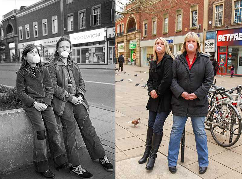 "Picture supplied by Chris Porsz/Bav Media 07976 880732. (Geoff Robinson Photography) Picture titled Double Bubble -Original pic 1980 Sisters Anna (left) and Emma Hankins posed for a picture blowing bubbles with Hubba Bubba chewing gum in Bridge Street in Peterborough in 1980. Anna was 11 and Emma was 13 and the girls were waiting for their mum whilst she was shopping. The siblings, who both went on to have careers in hairdressing, are now married and have families. An amateur photographer has amazingly tracked down people he snapped on the streets of his hometown 40 YEARS ago and painstakingly recreated more than 130 PICTURES in a remarkable new book. Paramedic Chris Porsz spent hours walking around the city of Peterborough, Cambridgeshire in the late 1970s and 80s, taking candid shots - without his subjects knowing and without recording their names or phone numbers. Three decades later, Chris, known as the ""paramedic paparazzo,"" decided it would be fun to reconstruct a handful of his favourite photos from the past. Incredibly some of his long-lost subjects recognised themselves after he published their pictures in local and national papers, on his website and on Facebook. The reconstructions were such a success he was determined to do more and has spent the last SEVEN YEARS tracking down the people in his pictures and persuading them to pose once again. His hard work paid off and he has now published his photos in new book ""Reunions,"" which comes out tomorrow (Fri Nov 4). SS COPY CATCHLINE Photos recreated after 40 YEARS"