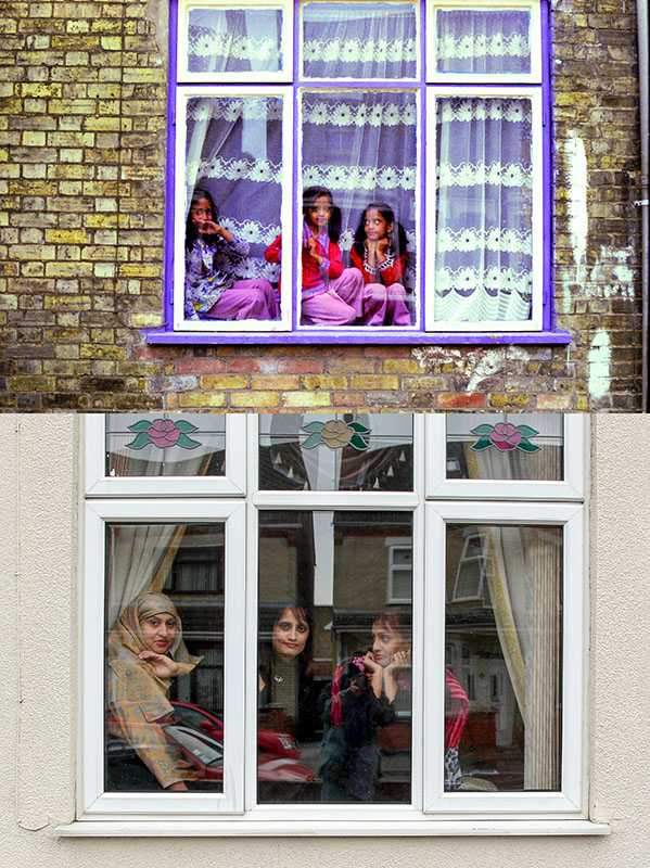 "Picture supplied by Chris Porsz/Bav Media 07976 880732. (Geoff Robinson Photography) Picture shows Out from behind the Curtains – Original pic 1980 (left-right) Shehnaz Begum, her twin sister Rukhsana and their older sister Itrat were spotted sitting in the window of their house at 100 Cromwell Road in Peterborough in 1980. ""We often used to perch in the window and watch what was going on in the road,"" said Shehnaz. ""My twin sister and I were about seven and Itrat was nine. An amateur photographer has amazingly tracked down people he snapped on the streets of his hometown 40 YEARS ago and painstakingly recreated more than 130 PICTURES in a remarkable new book. Paramedic Chris Porsz spent hours walking around the city of Peterborough, Cambridgeshire in the late 1970s and 80s, taking candid shots - without his subjects knowing and without recording their names or phone numbers. Three decades later, Chris, known as the ""paramedic paparazzo,"" decided it would be fun to reconstruct a handful of his favourite photos from the past. Incredibly some of his long-lost subjects recognised themselves after he published their pictures in local and national papers, on his website and on Facebook. The reconstructions were such a success he was determined to do more and has spent the last SEVEN YEARS tracking down the people in his pictures and persuading them to pose once again. His hard work paid off and he has now published his photos in new book ""Reunions,"" which comes out tomorrow (Fri Nov 4). SS COPY CATCHLINE Photos recreated after 40 YEARS"