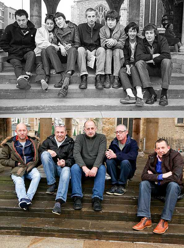 "Picture supplied by Chris Porsz/Bav Media 07976 880732. (Geoff Robinson Photography) Picture shows Punks on steps – Original pic 1980 (left-right) Friends John Church, Kim Guest, Gary Wymer, Mirko Obradovic, Ade Lawrence, Sean Adams and Mark Winsworth were pictured on the steps of Cathedral Square in Peterborough in the early 80's. John is now a painter and decorator and plays in a band with Ade, who is now a bin man. Kim and Sean have died and Mirko works in a brickyards. Gary was working as a butcher when the original picture was taken. In his early 20s he almost died after hitting his head on a bridge as he was cruising down the River Nene with friends. He was in a coma for a week but made a complete recovery. He went on to travel around the world, teaching English in Turkey and later settling in Colchester in Essex, where he now runs an industrial cleaning company An amateur photographer has amazingly tracked down people he snapped on the streets of his hometown 40 YEARS ago and painstakingly recreated more than 130 PICTURES in a remarkable new book. Paramedic Chris Porsz spent hours walking around the city of Peterborough, Cambridgeshire in the late 1970s and 80s, taking candid shots - without his subjects knowing and without recording their names or phone numbers. Three decades later, Chris, known as the ""paramedic paparazzo,"" decided it would be fun to reconstruct a handful of his favourite photos from the past. Incredibly some of his long-lost subjects recognised themselves after he published their pictures in local and national papers, on his website and on Facebook. The reconstructions were such a success he was determined to do more and has spent the last SEVEN YEARS tracking down the people in his pictures and persuading them to pose once again. His hard work paid off and he has now published his photos in new book ""Reunions,"" which comes out tomorrow (Fri Nov 4). SS COPY CATCHLINE Photos recreated after 40 YEARS"