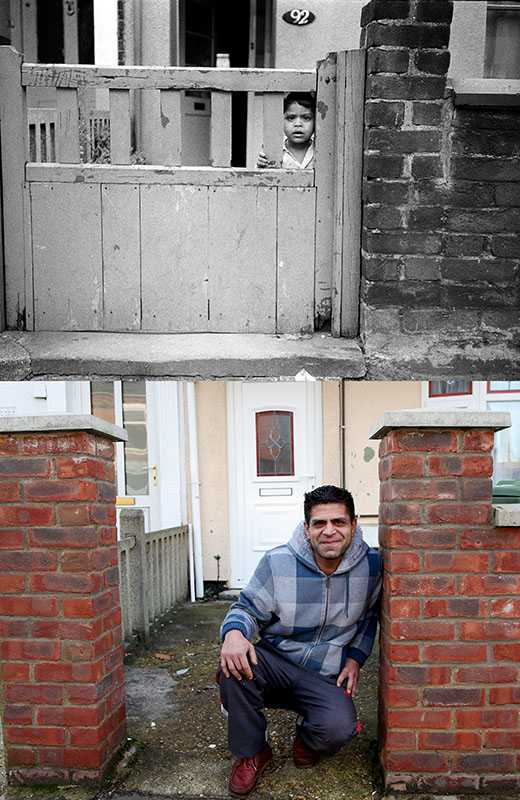 "Picture supplied by Chris Porsz/Bav Media 07976 880732. (Geoff Robinson Photography) Picture titled 92 Cromwell Road – Original pic 1980. Zaroob Hussain was three years old when Chris spotted him peering through the gate of 92 Cromwell Road. Amazingly Chris tracked him down when he attended a 999 call in a nearby clothes shop where a woman had fallen. Afterwards he asked her husband if he recognised the little boy in the photo and said he lived down the road. As he pointed out the window Zaroob happened to walk by. Zaroob now has three children and works in a takeaway in King's Lynn. An amateur photographer has amazingly tracked down people he snapped on the streets of his hometown 40 YEARS ago and painstakingly recreated more than 130 PICTURES in a remarkable new book. Paramedic Chris Porsz spent hours walking around the city of Peterborough, Cambridgeshire in the late 1970s and 80s, taking candid shots - without his subjects knowing and without recording their names or phone numbers. Three decades later, Chris, known as the ""paramedic paparazzo,"" decided it would be fun to reconstruct a handful of his favourite photos from the past. Incredibly some of his long-lost subjects recognised themselves after he published their pictures in local and national papers, on his website and on Facebook. The reconstructions were such a success he was determined to do more and has spent the last SEVEN YEARS tracking down the people in his pictures and persuading them to pose once again. His hard work paid off and he has now published his photos in new book ""Reunions,"" which comes out tomorrow (Fri Nov 4). SS COPY CATCHLINE Photos recreated after 40 YEARS"