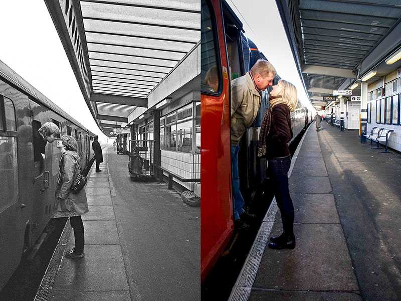 "Picture supplied by Chris Porsz/Bav Media 07976 880732. (Geoff Robinson Photography) The first picture Chris took is titled Railway Kiss – Original pic 1980 .Tony Wilmot was snapped saying goodbye to his girlfriend Sally at Peterborough Railway Station in 1980 and a year later they got married. Tony was 22 and working in Essex as a teacher and Sally was 21 and based in Stafford as a local government officer. On this occasion they had met up in Peterborough and had no idea the photo had been taken. It appeared over 30 years later in a local paper the Peterborough Evening Telegraph and was seen by Tony's father. The pair, who are now both headteachers and live in Lichfield, Staffordshire, have two children Tom and Jenny who are themselves in their twenties. Tony Wilmot was snapped saying goodbye to his girlfriend Sally at Peterborough Railway Station in 1980 and a year later they got married. Tony was 22 and working in Essex as a teacher and Sally was 21 and based in Stafford as a local government officer. On this occasion they had met up in Peterborough and had no idea the photo had been taken. It appeared over 30 years later in a local paper the Peterborough Evening Telegraph and was seen by Tony's father. The pair, who are now both headteachers and live in Lichfield, Staffordshire, have two children Tom and Jenny who are themselves in their twenties. An amateur photographer has amazingly tracked down people he snapped on the streets of his hometown 40 YEARS ago and painstakingly recreated more than 130 PICTURES in a remarkable new book. Paramedic Chris Porsz spent hours walking around the city of Peterborough, Cambridgeshire in the late 1970s and 80s, taking candid shots - without his subjects knowing and without recording their names or phone numbers. Three decades later, Chris, known as the ""paramedic paparazzo,"" decided it would be fun to reconstruct a handful of his favourite photos from the past. Incredibly some of his long-lost subjects recognis"