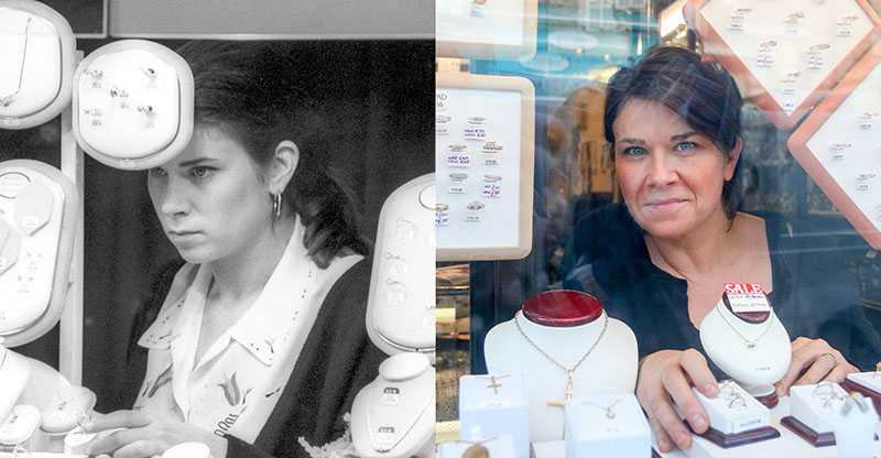 "Picture supplied by Chris Porsz/Bav Media 07976 880732. (Geoff Robinson Photography) Picture titled Jewellery – Original pic 1990. Vicki Gracey (nee Frost) worked as a sale's assistant at a jewellery store in Queensgate Shopping Centre in Peterborough for two years. She has since had jobs behind bars, in retail, hairdressing and restaurants and currently deals with tenancy sustainability. She still lives in the city and is married with two children. ""I'm a people person and I've always had jobs which involve working with the public,"" she said. An amateur photographer has amazingly tracked down people he snapped on the streets of his hometown 40 YEARS ago and painstakingly recreated more than 130 PICTURES in a remarkable new book. Paramedic Chris Porsz spent hours walking around the city of Peterborough, Cambridgeshire in the late 1970s and 80s, taking candid shots - without his subjects knowing and without recording their names or phone numbers. Three decades later, Chris, known as the ""paramedic paparazzo,"" decided it would be fun to reconstruct a handful of his favourite photos from the past. Incredibly some of his long-lost subjects recognised themselves after he published their pictures in local and national papers, on his website and on Facebook. The reconstructions were such a success he was determined to do more and has spent the last SEVEN YEARS tracking down the people in his pictures and persuading them to pose once again. His hard work paid off and he has now published his photos in new book ""Reunions,"" which comes out tomorrow (Fri Nov 4). SS COPY CATCHLINE Photos recreated after 40 YEARS"