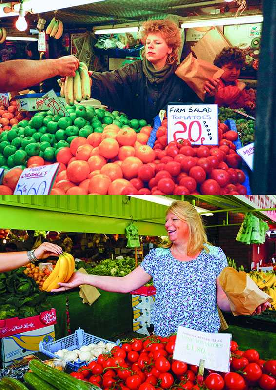 "Picture supplied by Chris Porsz/Bav Media 07976 880732. (Geoff Robinson Photography) Picture titled Banana Girl – Original Pic 1985 Jennifer Hall worked on the fruit and vegetable stall at Peterborough Market on Saturdays for about four years. She said: ""I think I was about 17 when Chris took my photo. I was aware that someone was taking my picture at the time but I wasn't sure who or what it was for. An amateur photographer has amazingly tracked down people he snapped on the streets of his hometown 40 YEARS ago and painstakingly recreated more than 130 PICTURES in a remarkable new book. Paramedic Chris Porsz spent hours walking around the city of Peterborough, Cambridgeshire in the late 1970s and 80s, taking candid shots - without his subjects knowing and without recording their names or phone numbers. Three decades later, Chris, known as the ""paramedic paparazzo,"" decided it would be fun to reconstruct a handful of his favourite photos from the past. Incredibly some of his long-lost subjects recognised themselves after he published their pictures in local and national papers, on his website and on Facebook. The reconstructions were such a success he was determined to do more and has spent the last SEVEN YEARS tracking down the people in his pictures and persuading them to pose once again. His hard work paid off and he has now published his photos in new book ""Reunions,"" which comes out tomorrow (Fri Nov 4). SS COPY CATCHLINE Photos recreated after 40 YEARS"