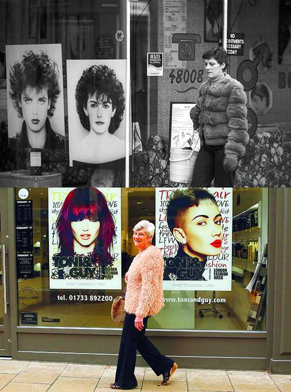 "Picture supplied by Chris Porsz/Bav Media 07976 880732. (Geoff Robinson Photography) Picture titled Hairdressers Shop – Original Pic 1980 Dressed in a fur jacket and gloves, Sandra Burford was pictured going into a hairdressers in Peterborough in 1980. She said: ""I used to go there occasionally to have my hair cut by the apprentice, because it worked out a bit cheaper."" An amateur photographer has amazingly tracked down people he snapped on the streets of his hometown 40 YEARS ago and painstakingly recreated more than 130 PICTURES in a remarkable new book. Paramedic Chris Porsz spent hours walking around the city of Peterborough, Cambridgeshire in the late 1970s and 80s, taking candid shots - without his subjects knowing and without recording their names or phone numbers. Three decades later, Chris, known as the ""paramedic paparazzo,"" decided it would be fun to reconstruct a handful of his favourite photos from the past. Incredibly some of his long-lost subjects recognised themselves after he published their pictures in local and national papers, on his website and on Facebook. The reconstructions were such a success he was determined to do more and has spent the last SEVEN YEARS tracking down the people in his pictures and persuading them to pose once again. His hard work paid off and he has now published his photos in new book ""Reunions,"" which comes out tomorrow (Fri Nov 4). SS COPY CATCHLINE Photos recreated after 40 YEARS"