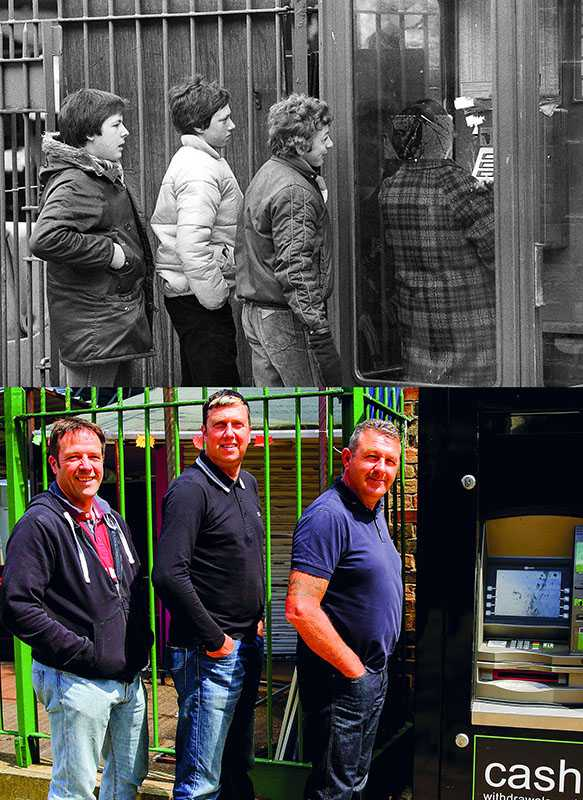 "Picture supplied by Chris Porsz/Bav Media 07976 880732. (Geoff Robinson Photography) Picture titled Queuing for the phone – Original pic 1980 (Left-right) John Morris, Paul Barnard and Andrew Pollard were seen queuing up to use the phone in Cattle Market Road in Peterborough in 1981. The school friends used to hang out together at weekends and often cycled into the city centre on their bikes. Now the phone box has been swapped for an ATM machine. An amateur photographer has amazingly tracked down people he snapped on the streets of his hometown 40 YEARS ago and painstakingly recreated more than 130 PICTURES in a remarkable new book. Paramedic Chris Porsz spent hours walking around the city of Peterborough, Cambridgeshire in the late 1970s and 80s, taking candid shots - without his subjects knowing and without recording their names or phone numbers. Three decades later, Chris, known as the ""paramedic paparazzo,"" decided it would be fun to reconstruct a handful of his favourite photos from the past. Incredibly some of his long-lost subjects recognised themselves after he published their pictures in local and national papers, on his website and on Facebook. The reconstructions were such a success he was determined to do more and has spent the last SEVEN YEARS tracking down the people in his pictures and persuading them to pose once again. His hard work paid off and he has now published his photos in new book ""Reunions,"" which comes out tomorrow (Fri Nov 4). SS COPY CATCHLINE Photos recreated after 40 YEARS"