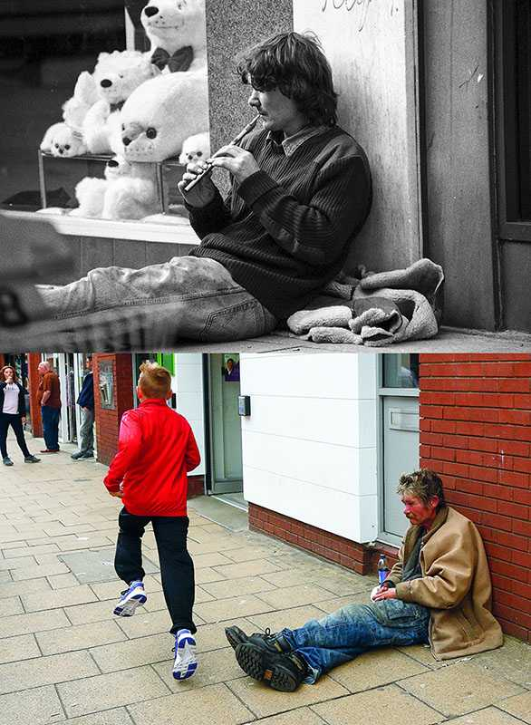 "Picture supplied by Chris Porsz/Bav Media 07976 880732. (Geoff Robinson Photography) Picture shows Flute Player – Original pic 1986 For many years Neil wandered around Peterborough town centre and played the flute outside the Co-op bank in Westgate. When the book went to print he had not been seen for several months. An amateur photographer has amazingly tracked down people he snapped on the streets of his hometown 40 YEARS ago and painstakingly recreated more than 130 PICTURES in a remarkable new book. Paramedic Chris Porsz spent hours walking around the city of Peterborough, Cambridgeshire in the late 1970s and 80s, taking candid shots - without his subjects knowing and without recording their names or phone numbers. Three decades later, Chris, known as the ""paramedic paparazzo,"" decided it would be fun to reconstruct a handful of his favourite photos from the past. Incredibly some of his long-lost subjects recognised themselves after he published their pictures in local and national papers, on his website and on Facebook. The reconstructions were such a success he was determined to do more and has spent the last SEVEN YEARS tracking down the people in his pictures and persuading them to pose once again. His hard work paid off and he has now published his photos in new book ""Reunions,"" which comes out tomorrow (Fri Nov 4). SS COPY CATCHLINE Photos recreated after 40 YEARS"
