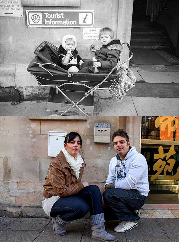 "Picture supplied by Chris Porsz/Bav Media 07976 880732. (Geoff Robinson Photography) Picture titled Tourist Information - Original pic 1982. Brother and sister Rose and Stuart Budnik were parked in a pram outside the Tourist Information in Peterborough when Chris took their photo in 1982. Now Rose has three daughters and Stuart is a policeman and has a son. They both live in Peterborough and meet up now and again. Stuart said: ""I think I was about five years old in the photo."" An amateur photographer has amazingly tracked down people he snapped on the streets of his hometown 40 YEARS ago and painstakingly recreated more than 130 PICTURES in a remarkable new book. Paramedic Chris Porsz spent hours walking around the city of Peterborough, Cambridgeshire in the late 1970s and 80s, taking candid shots - without his subjects knowing and without recording their names or phone numbers. Three decades later, Chris, known as the ""paramedic paparazzo,"" decided it would be fun to reconstruct a handful of his favourite photos from the past. Incredibly some of his long-lost subjects recognised themselves after he published their pictures in local and national papers, on his website and on Facebook. The reconstructions were such a success he was determined to do more and has spent the last SEVEN YEARS tracking down the people in his pictures and persuading them to pose once again. His hard work paid off and he has now published his photos in new book ""Reunions,"" which comes out tomorrow (Fri Nov 4). SS COPY CATCHLINE Photos recreated after 40 YEARS"