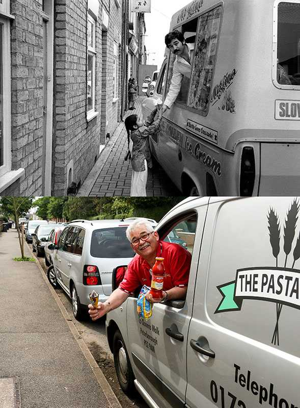 "Picture supplied by Chris Porsz/Bav Media 07976 880732. (Geoff Robinson Photography) Picture titled Ice cream Seller – Original pic 1980 Genesio (Gino) Borrillo bought an ice cream van when he moved to Peterborough from Italy and travelled around the city in the summer selling ice cream. In 1992 he set up a pasta shop in Peterborough, which he still runs with his daughter. Gino is married and has three children and four grandchildren. An amateur photographer has amazingly tracked down people he snapped on the streets of his hometown 40 YEARS ago and painstakingly recreated more than 130 PICTURES in a remarkable new book. Paramedic Chris Porsz spent hours walking around the city of Peterborough, Cambridgeshire in the late 1970s and 80s, taking candid shots - without his subjects knowing and without recording their names or phone numbers. Three decades later, Chris, known as the ""paramedic paparazzo,"" decided it would be fun to reconstruct a handful of his favourite photos from the past. Incredibly some of his long-lost subjects recognised themselves after he published their pictures in local and national papers, on his website and on Facebook. The reconstructions were such a success he was determined to do more and has spent the last SEVEN YEARS tracking down the people in his pictures and persuading them to pose once again. His hard work paid off and he has now published his photos in new book ""Reunions,"" which comes out tomorrow (Fri Nov 4). SS COPY CATCHLINE Photos recreated after 40 YEARS"