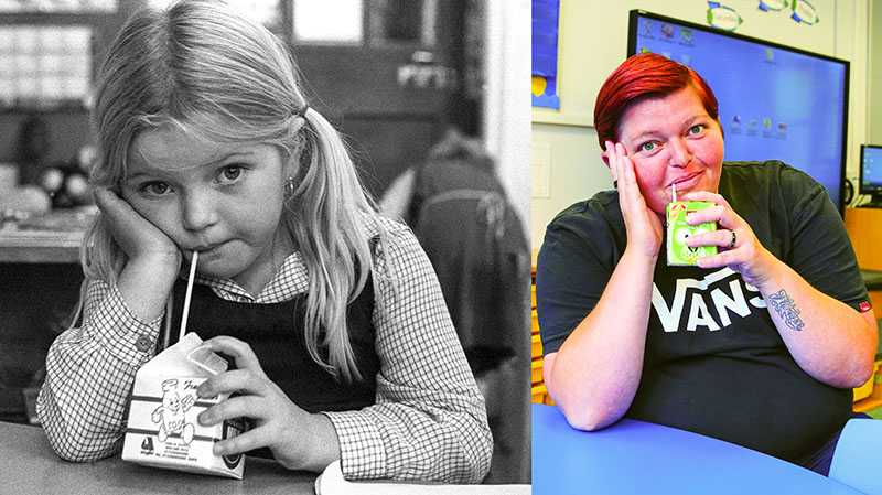 "Picture supplied by Chris Porsz/Bav Media 07976 880732. (Geoff Robinson Photography) Picture titled Good for Teeth and Bones – Original pic 1983 .Layla Gordon is pictured drinking her daily bottle of milk at Queens Drive Infants School in Peterborough in 1983. She is now a housewife, with a long-term partner and two children and still lives in Peterborough. ""I still like milk but sadly it's not free anymore,"" she joked. An amateur photographer has amazingly tracked down people he snapped on the streets of his hometown 40 YEARS ago and painstakingly recreated more than 130 PICTURES in a remarkable new book. Paramedic Chris Porsz spent hours walking around the city of Peterborough, Cambridgeshire in the late 1970s and 80s, taking candid shots - without his subjects knowing and without recording their names or phone numbers. Three decades later, Chris, known as the ""paramedic paparazzo,"" decided it would be fun to reconstruct a handful of his favourite photos from the past. Incredibly some of his long-lost subjects recognised themselves after he published their pictures in local and national papers, on his website and on Facebook. The reconstructions were such a success he was determined to do more and has spent the last SEVEN YEARS tracking down the people in his pictures and persuading them to pose once again. His hard work paid off and he has now published his photos in new book ""Reunions,"" which comes out tomorrow (Fri Nov 4). SS COPY CATCHLINE Photos recreated after 40 YEARS"