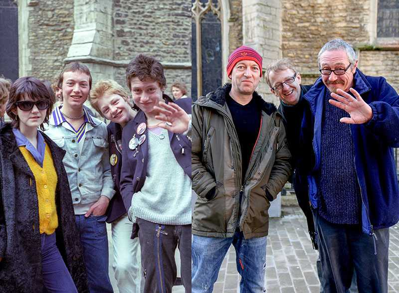 "Picture supplied by Chris Porsz/Bav Media 07976 880732. (Geoff Robinson Photography) Picture shows Pin Badges – Original pic 1970s/ Punks (r-l)John Church, Gary Beckett, Ade Lawrence and Pippa Hodgson were pictured in Cathedral Square in Peterborough in the 1970s, wearing pin badges. John, who is now a painter and decorator in the city, said: ""The other lads were school friends and Pippa was a mutual friend, we used to hang out together and listen to punk music. I think I was about 15 and on the verge of becoming a punk."" John is still friends with Ade and they play in a band together. Gary emigrated to Australia, where he works as a project manager and Pippa now lives in Spain An amateur photographer has amazingly tracked down people he snapped on the streets of his hometown 40 YEARS ago and painstakingly recreated more than 130 PICTURES in a remarkable new book. Paramedic Chris Porsz spent hours walking around the city of Peterborough, Cambridgeshire in the late 1970s and 80s, taking candid shots - without his subjects knowing and without recording their names or phone numbers. Three decades later, Chris, known as the ""paramedic paparazzo,"" decided it would be fun to reconstruct a handful of his favourite photos from the past. Incredibly some of his long-lost subjects recognised themselves after he published their pictures in local and national papers, on his website and on Facebook. The reconstructions were such a success he was determined to do more and has spent the last SEVEN YEARS tracking down the people in his pictures and persuading them to pose once again. His hard work paid off and he has now published his photos in new book ""Reunions,"" which comes out tomorrow (Fri Nov 4). SS COPY CATCHLINE Photos recreated after 40 YEARS"