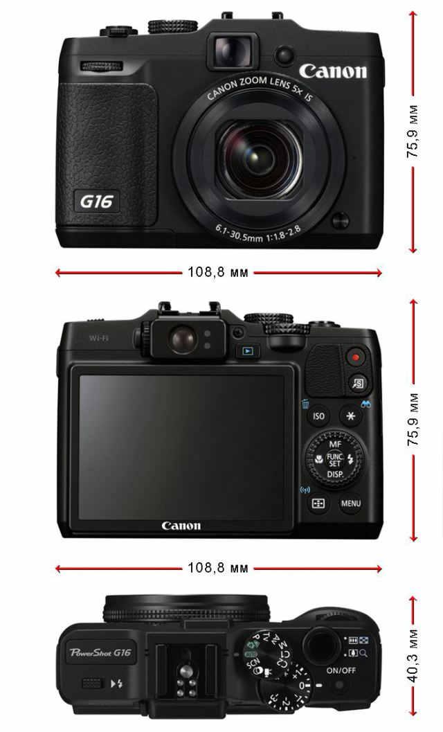 размеры Canon PowerShot G16